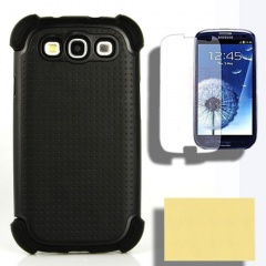 Case+Screen Protector for Samsung Galaxy S 3 III S3 Holster Black Pouch Snap